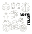 set of motorcycle accessories vector image vector image
