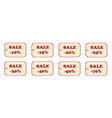 set of price tags red text on yellow textural vector image vector image