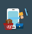 smartphone with electronic commerce icons vector image vector image