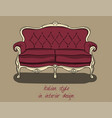 sofa with backrest and armrests in purple and vector image vector image