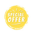 special offer inscription on yellow painted spot vector image vector image