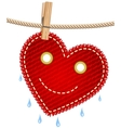 textile red heart on a clothesline vector image vector image