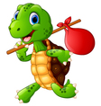 travelling turtle with a nap sack on a stick vector image vector image