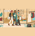 trendy girls shopping together modern young women vector image