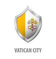 vatican city flag on metal shiny shield vector image