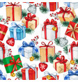 watercolor christmas seamless pattern with gift vector image