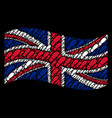 waving british flag mosaic of boot footprint items vector image
