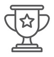 winner line icon game and award trophy cup sign vector image vector image