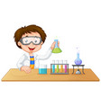 young boy scientist in lab isolated vector image