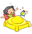 A girl waking up with an alarm vector image