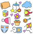 baby set toys object doodles vector image