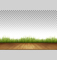 background with wooden floor and green grass vector image vector image