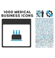 Birthday Cake Calendar Page Icon With 1000 Medical vector image vector image