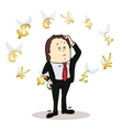 business man standing watching for flying vector image vector image