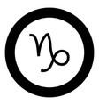 capricorn symbol zodiac icon black color in round vector image vector image