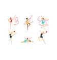 colection gymnast girls in leotards performing vector image vector image