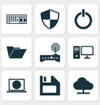 computer icons set collection of power on vector image vector image