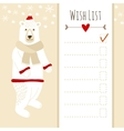 cute christmas cardbashower wish list vector image vector image