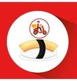 delivery boy ride motorcycle nigiri sushi vector image