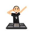 dj in headphones playing music on mixer console vector image vector image