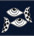 doodle sticker of fishes horoscope sing of zodiac vector image