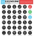 Ecology circle white black icon set Modern vector image vector image