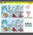 find differences with fish sea life characters vector image vector image