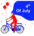 fourth july girl flat character with bicycle vector image vector image