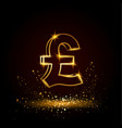 gold pound sterling symbol vector image