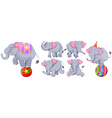 Gray elephants in different actions vector image