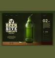 green beer bottle on modern site template vector image vector image