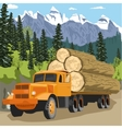 heavy loaded logging truck in forest in mountains vector image vector image