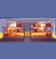 inner view warehouse interior logistics stock vector image vector image