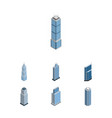 isometric construction set of skyscraper exterior vector image vector image