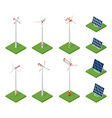 isometric solar panels and wind turbines concept vector image vector image