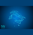 italy map with nodes linked by lines concept of vector image vector image