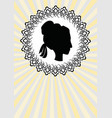 lady head silhouette black profile in ornate vector image