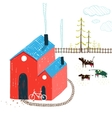 Little Village House Rural Landscape with Forest vector image