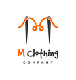 m clothing logo design template vector image vector image