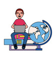 man with laptop books and globe education school vector image vector image