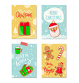 merry christmas poster with greetings cookies vector image vector image