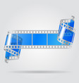 paper curled film with blue transparent frames vector image