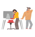 people coughing and sneezing in office sick vector image vector image