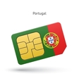 Portugal mobile phone sim card with flag vector image