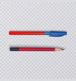 realistic pencil and pen on transparent background vector image