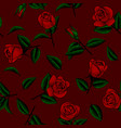 seamless pattern background with drawn roses vector image vector image