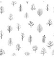 seamless patterns with doodle trees vector image vector image