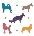 set different dog breeds silhouettes vector image vector image