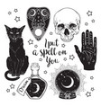 set of magic witchcraft objects vector image vector image