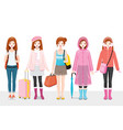 set woman clothing wearing in different seasons vector image vector image